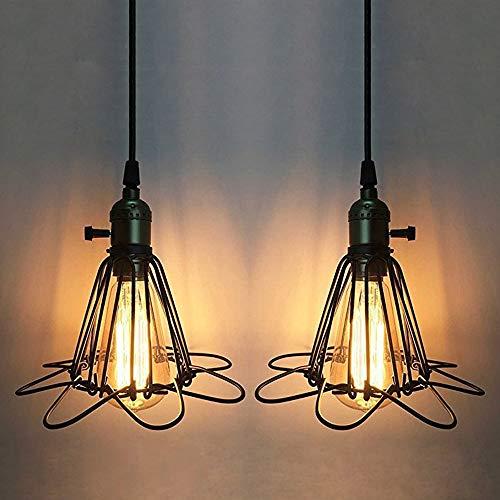 2 Piezas Industrial Iluminación Colgante, Vintage Lámpara Colgante de Jaula de Metal, E27 Moderna Colgante de Luz para Dormitorio Restaurante Cafetería y Bar Decoración