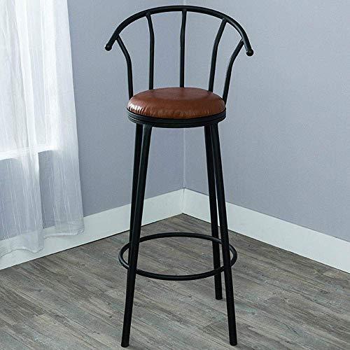 SPRINGHUA Taburete de bar industrial de metal con asiento acolchado de cuero para pub bistro personality bar silla (color: negro, tamaño: 36 x 36 x 80 cm)