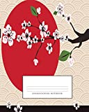 Genkouyoushi Notebook: Kanji Practice Notebook & Paper & Workbook & Book, Japanese Writing Practice Book & Notetaking of Kana and Kanji Characters, ... 110 pages,Sun and Cherry Blossoms covering