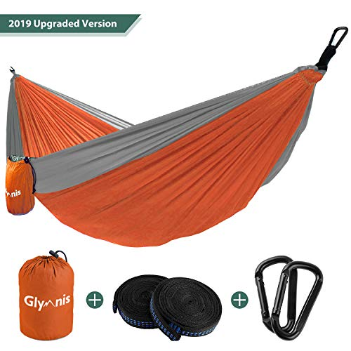Glymnis Camping Hammock 275 X 140cm for 2 Person Nylon Lightweight Portable Double Hammock with Straps for Camping Backpacking Beach Garden (Orange)