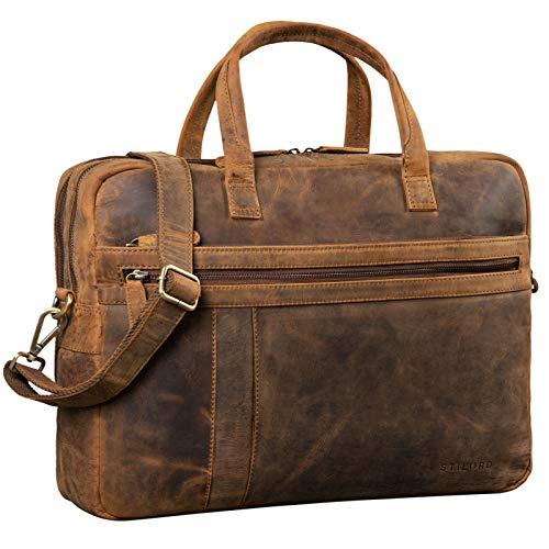 STILORD 'Conrad' Businesstasche Aktentasche Leder mit 15.6 Zoll Laptop-Fach Zweifachteilung Vintage Umhängetasche für Büro Arbeit Leder Tasche, Farbe:mittel - braun