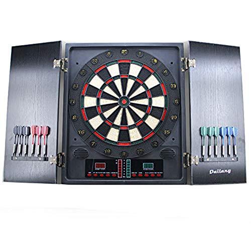 Tablero de Dardos Electrónico, Pantalla de Visualización LED Máquina de Dardos Eléctricos con Panel de Doble Puerta de Madera Tradicional, 1-8 Jugadores, con 12 Dardos Suaves para Diversión de