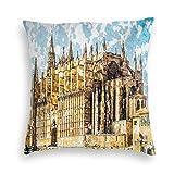 Funda de almohada, gran edificio gótico, orilla del mar, catedral de Palma de Mallorca, vista desde la carretera, fundas de cojín de poliéster para sofá, dormitorio, coche, sala de estar, 18 x 18 pulg