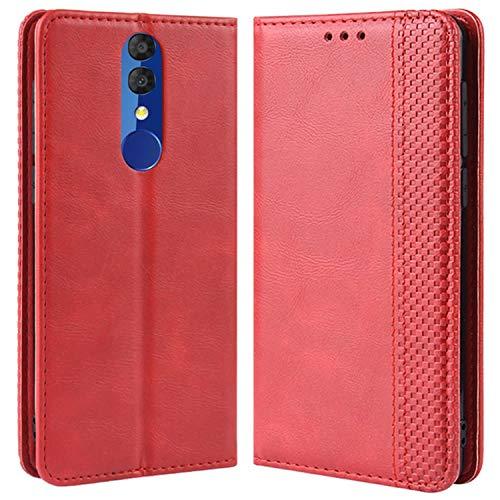 HualuBro Handyhülle für Alcatel 3 2019 Hülle, Retro Leder Brieftasche Tasche Schutzhülle Handytasche LederHülle Flip Hülle Cover für Alcatel 3 2019 - Rot