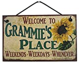 Egbert's Treasures 5x8 Vintage Style Sign with Sunflower Saying, Welcome to Grammie's Place Weekends, Weekdays, Whenever Decorative Fun Universal Household Family Signs for Grandma (5x8)