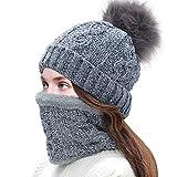 Tacobear Gorro Invierno Mujer y Bufanda Círculo Sombreros de punto Mujer Caliente Gorros de punto con Pompón Cuello Gruesa Bufanda Invierno Bufanda de Punto para Mujer (gris)