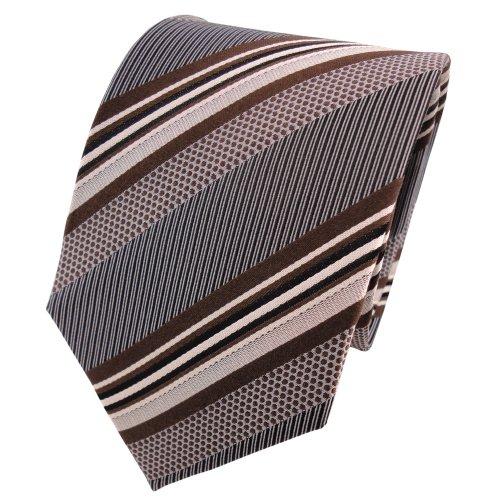 TigerTie diseñador corbata de seda - marrón gris plata negro rayas