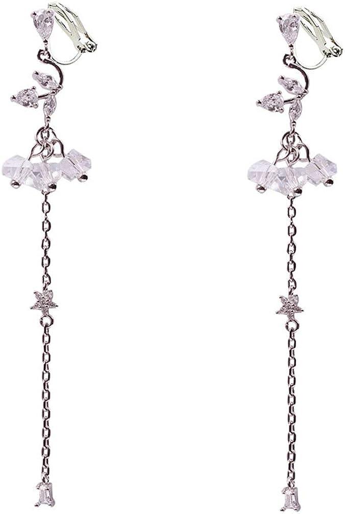 Cubic Zirconia Clip on Dangle Earrings non Pierced Soft Pads Clear Rhinestone Long Tassel for Women Girl
