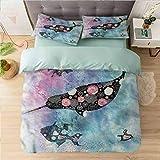 Juego de funda de edredón con estampado Queen, Narwhal, ballena floral y pescado, juego de cama decorativo de 3 piezas con 2 fundas de almohada