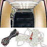 Ampper LED Ceiling Lights Kit for Van RV Boats Caravans Trailers Lorries Sprinter Ducato Transit VW LWB (10 Modules, White), 12V 40 LEDs Van Interior Light Kits