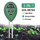ZMKDLL Soil pH Meter 3-in-1 Soil Tester Kits Moisture/Light/pH Test Gardening...