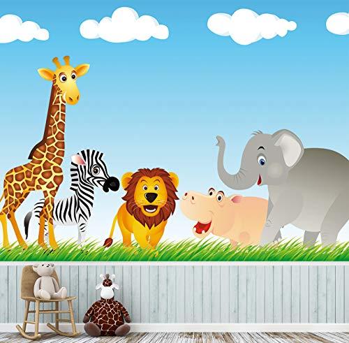 Kindertapete selbstklebend | Tiere auf Einer Wiese | in 200x150 cm | Kindertapete Tapete Wand-deko Dekoration Kinderbild Kinderzimmer Jungs Mädchen