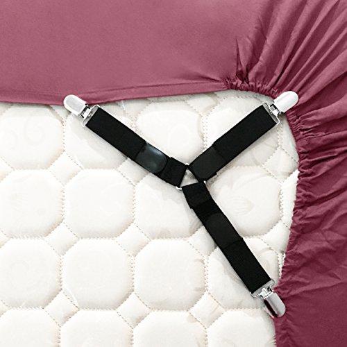 Jubliss - Bretelle regolabili a 3 direzioni, ultra resistenti, per lenzuola, con ganci, confezione da 4, colore: nero