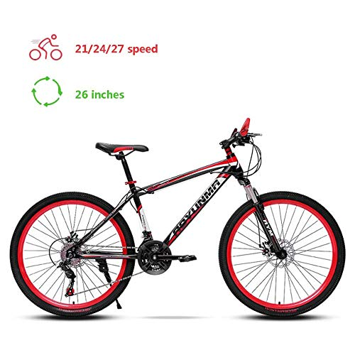 TRGCJGH Mountain Bike 26 Inch, Hardtail Mountain Trail Bike High Carbon Steel Outroad Bicycles, 21/24/27-Speed Bicycle,C-27speed