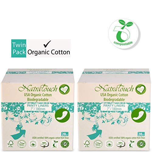 NATRATOUCH ~ COMPOSTABLE ~ Certified Organic Cotton Panty Liner Long (2 Pack Total 40 Liners)