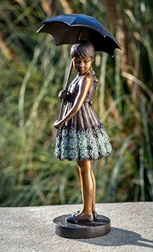IDYL Escultura de bronce para niña con un paraguas   45 x 20 x 18 cm   Figura infantil de bronce hecha a mano   Decoración de jardín o estanque   Artesanía de alta calidad   Resistente a la intemperie