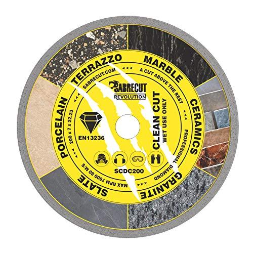 """1 x SabreCut SCDC200 200mm (8"""") x 7mm x 22.23mm Loch fortlaufender Rand Diamant Winkelschleifer Kreissägeblatt Kompatibel mit Bosch Dewalt Makita Milwaukee und viele andere"""