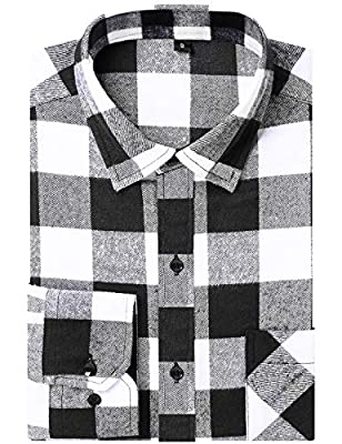 DOKKIA Men's Button Down Buffalo Plaid Checked Long Sleeve Flannel Shirts
