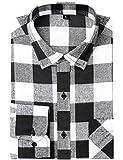 DOKKIA Men's Casual Dress Long Sleeve Buffalo Plaid Slim Fit Flannel Shirt (Black White Buffalo, Medium)