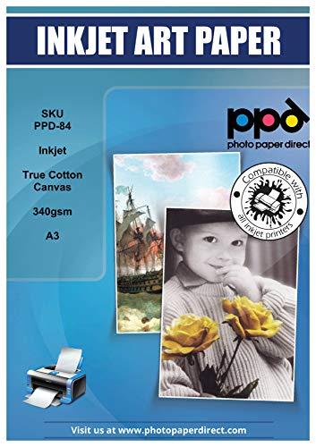 PPD A3 x 10 Blatt Inkjet bedruckbares 340 g/m2 Canvas Fotopapier Weiß Matt - Edle Optik durch 100% Baumwoll-Basis und geeignet für alle Tintenstrahldrucker PPD059-10