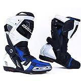 Bela Race Pro Botas de Moto de Cuero Hombre para Carreras (Blanco/Azul/Negro, 41 EU)