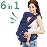 Windsleeping Baby and Child Carrier Backpack 6-in-1 Detachable Natural Latex Carrier Sling with Hip Seat Suit for Newborn, Infant,Toddler,Kids - Dark Blue