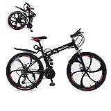 DNNAL Bicicleta de montaña, 26 Pulgadas 21 Bicicleta Plegable de Alta Velocidad de Acero al Carbono de Doble Bastidor de suspensión de Bicicletas de montaña para Hombres y Mujeres Adultos