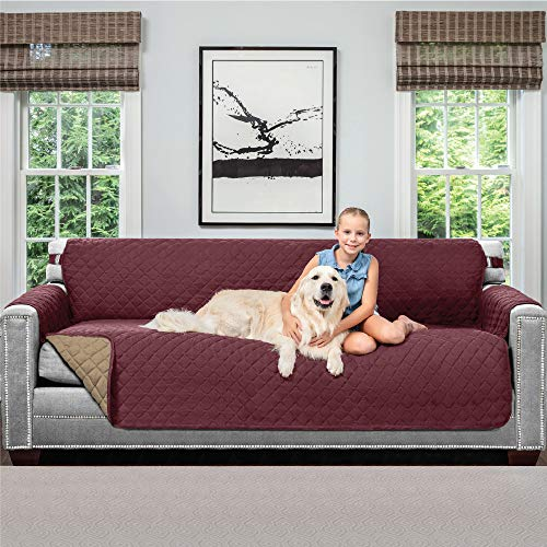 Sofa Shield Original Patent Pending Reversible X-Large Oversized Sofa Protector for Seat Width up to 78 Inch, Furniture Slipcover, 2 Inch Strap, Couch Slip Cover Throw for Pet Dogs, Sofa, Burgundy Tan