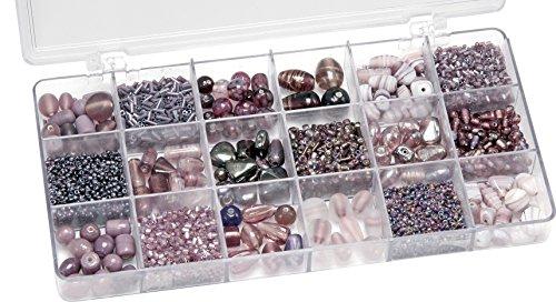 Knorr prandell 216050310 Sortimentsbox Glasperlen (21 x 10,5 x 2,4 cm, 200 g) lila