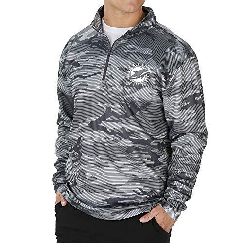 Zubaz NFL Miami Dolphins Men's Lines Poly Fleece 1/4 Zip Jacket, Gray, Medium