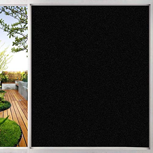 TTMOW Vinilo Adhesivo Negro para Ventana Cristal Bloquear 100{22b1df6db3bdfd8fb52c20553960b95e08b7f430f04e0891206e078c7e559b1b} del Luz Película para Ventana Láminas Electrostaticas, Control de Calor y Anti UV, 90 x 200 cm