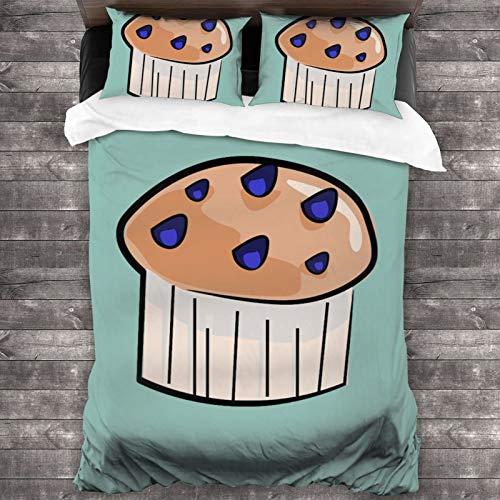 VVSADEB Juego de ropa de cama de 3 piezas, 100% microfibra lavada, ligero, juego de cama de 3 piezas, funda de edredón con cierre de cremallera (1 funda de edredón y 2 fundas de almohada)