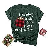 Christmas Coffee Graphic T-Shirt Women Crewneck Short Sleeve Tee Top