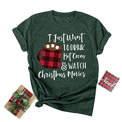Christmas Coffee Graphic T-Shirt Women Crewneck Short Sleeve Tee Top