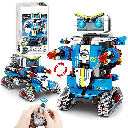 2021 New-2-in-1-STEM Remote Control Robot Building Kit for Kids (796 Pieces) - RC Toy Building Sets Robot or Cars, Robotics Toys for Boys Age 8 9 10 11 12+ Year Old, Gift for Birthday Christmas Etc