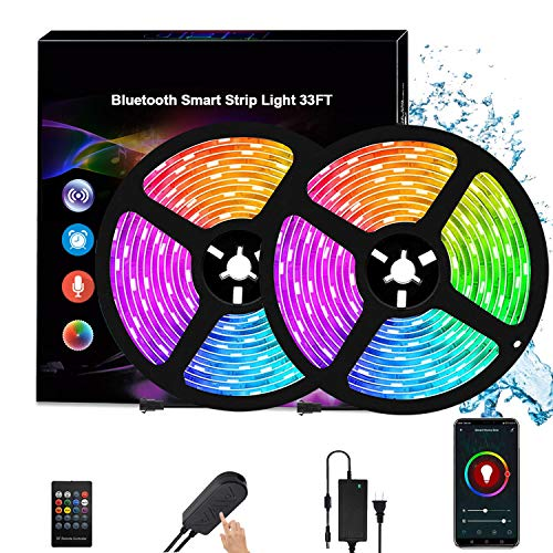 Bluetooth Music Strip Lights 33 ft, Smart Lights Strip Music Sync, APP Control Strip Light with Remote Light Color Changing Rope Light Waterproof 300pcs Strip Lights for Bedroom Home Decoration