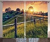 Cortinas para decoración de habitaciones, rayos de sol de la mañana sobre el campo, casa de campo, cielo colorido, Cárpatos, Ucrania, Europa, cortina para dormitorio, sala de estar, juego de 2 paneles