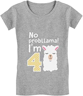 Gift for 4 Year Old Girl No Probllama 4th Birthday Infant Girls' Fitted T-Shirt