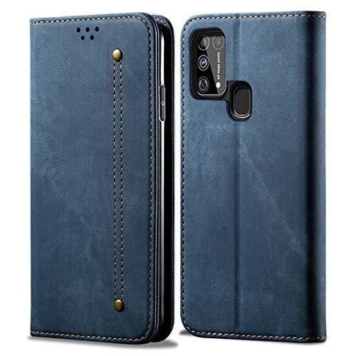 Eabhulie Funda Galaxy M21S, Carcasa de Cuero PU Retro Mezclilla Cartera Tapa con Soporte Plegable para Samsung Galaxy M21S Azul