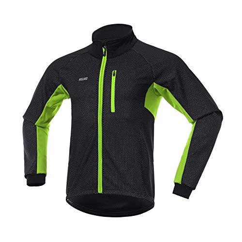 Fitsund Chaqueta de ciclismo para hombre, de verano, de manga larga, MTB, chaqueta funcional (XL, verde 1)