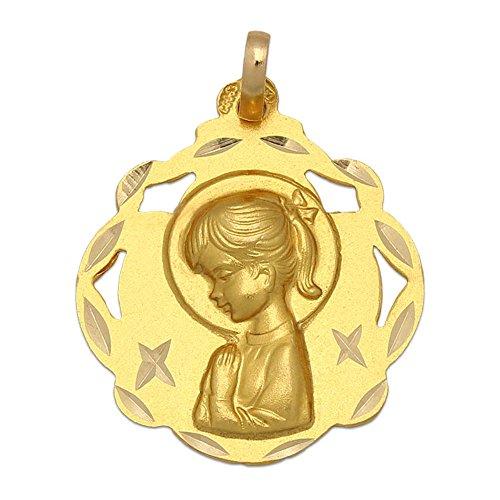 Minoplata Medalla Virgen Niña de Oro de 18 KL. 20 x 23 Mm. una Joya Ideal para Hacer niña Que Vaya a Tomar su Primera Comunión, será un Recuerdo para Toda la Vida