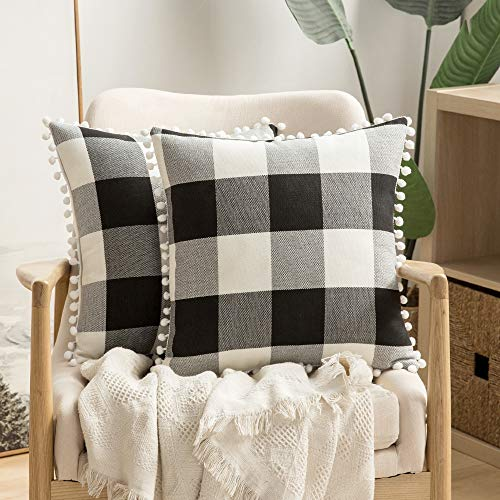 MIULEE Set of 2 Retro Farmhouse Buffalo Plaid Check Pillow Cases with Pom-poms Decorative Throw Pillow Covers Cushion Case for Sofa Couch 18x18 Inch Black and White