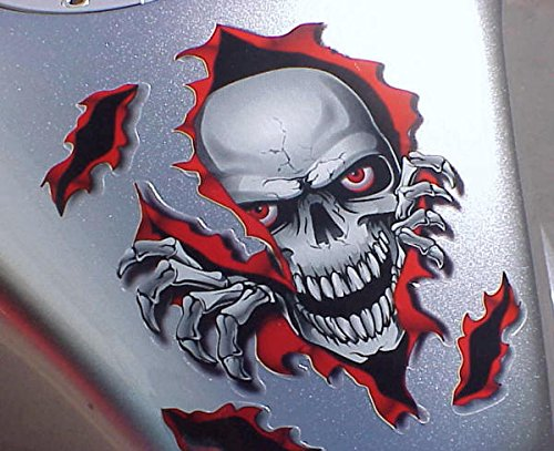 i5 Red Skull Decal Graphic for Honda Kawasaki Suzuki Yamaha Sportbikes, Cruisers, Standards and Dirt Bikes.