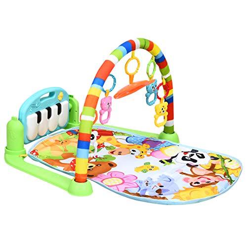 COSTWAY Spieldecke mit drehbares und abnehmbares Klavier, Rainforest Erlebnisdecke mit Licht, Baby Gym mit Spielbogen und Spiegel, Krabbeldecke für Babys ab 0 Monaten