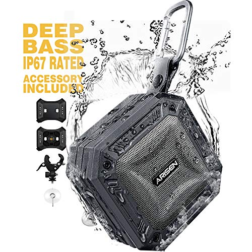 Waterproof Portable Bluetooth Speakers Outdoor, ARISEN RockRock IP67 Wireless Speaker with Loud Sound, Deep Bass, TWS, Accessory Included for Beach Party Travel Golf