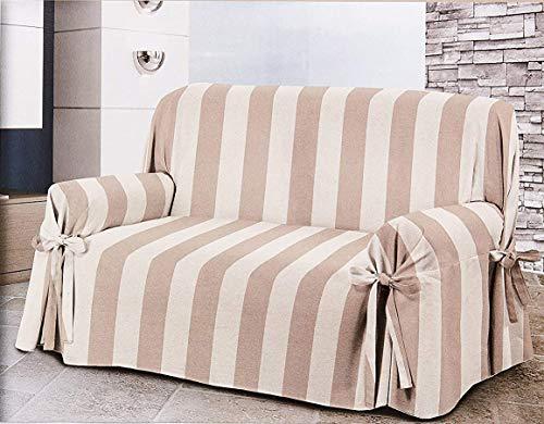 Home Life – Cubre sofá de 3 plazas – Elegante Protector de sofás a Rayas – Funda de sofá de algodón para Proteger del Polvo, Las Manchas y el Desgaste, Fabricado en Italia – Beige
