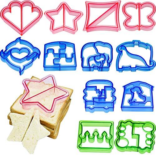 12 cortadores de sándwiches y removedor de forma de corteza de pan para niños, cortadores de verduras de lujo, molde de mariposa, dinosaurio, perro, corazón, puzzle, cuadrado y estrella