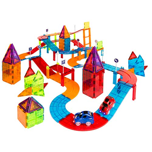 Best Choice - Kids Magnetic Tile Car Tracks with 2 light up Cars
