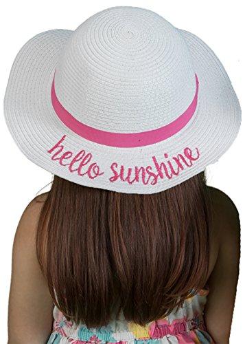 Girls Embroidered Sun Hat - Hello Sunshine (White)