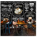 Gwrdnjpjc 3D Photo Mural Wallpaper Style Retro Hand Painted Blackboard Coffee Restaurant Cafe Decor...